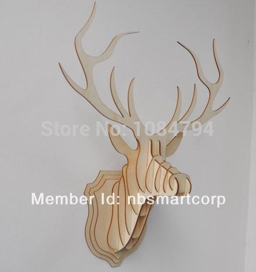 wooden veneer shape , wooden flourish , wooden deer head(China (Mainland))
