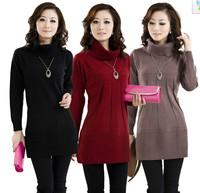 Winter One-piece Dress Women's Knitted Pullovers Sweater Long Turtleneck Oversized Cashmere Sweater Size S-XXXL