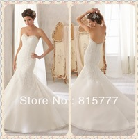Appealing Sweetheart Organza Sweep Train Appliques Lace Mermaid Weeding Gown