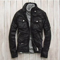 Free shipping Spring and Autumn fashion men genuine leather high quality sheep skin punk motorcycle cool jacket