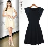 Free shipping!2014 new European and American fashion lotus leaf sleeve dress Slim M6009
