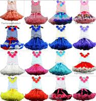 Free Shipping 16 Colors 2-8 Years Sweet Baby Girl Flower Top Skirts Set Girls Tutu Pettiskirt Children's Kids Clothing Sets Gift