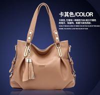 All match style Genuine Leather Handbag fashion tassel design simple shoulder bag with tassel cross-body Motorcyle bag