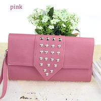 new design Rivet PU bags rivets pu women ladies wallets purses bags