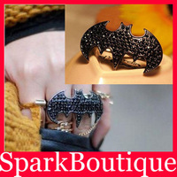 Min Order $10 (Mix Order) Punk Animal Ring Retro Punk Bat Double Finger Ring Black Bat Rings Free Shipping
