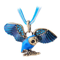 Woman  Vintage  Enamel  Rhinestone  Alloy  Small  Cute  Owl  Pendant  Necklace  With  Ribbon  Rope  Chian