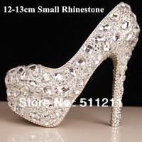 Hot Sales!! 12-15CM Women Crystal wedding shoes high heels rhinestone bride wedding dress women pumps crystal shoes, EU35-39