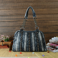 2014 New fashion denim bag jeans handbag leather match pure cotton denim shoulder bag with Rivet Rhinestone,freeshipping