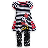 Children's clothing set Girls Minnie Suit sets  summer female child MINNIE stripe short-sleeve set dress+pant