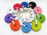 Colorful 3.5mm male to male Stereo Car AUX Audio Cable Flat Noodle 1M Extention Auxiliary cord for iPhone 5 5c 5s Sumsung S4