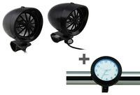 """Black 3"""" Speaker Amplifier & Bluetooth+Black Motorcycle Handlebar Clock Glow in Dark"""