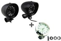 """Black 3"""" Speaker Amplifier & Bluetooth+White Motorcycle Handlebar Clock Glow in Dark"""