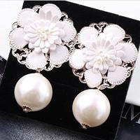 2 pearl leather big flower stud earring female earrings fashion earring