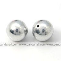 Aluminum Beads,  Round,  Gray,  12mm,  Hole: 1.2mm