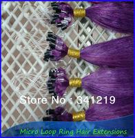 2014 New Top sales Easy to wear micro loop hair extensions/beads brazilian virgin hair 16 18 20 22 24 26 28 30 32 40 inch Purple