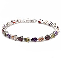 Free shipping 22PC Silver Swiss Cubic Zirconia CZ CrystalBracelets & bangles Multi Colors Crystal  for woman 2013 (010)