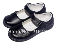 2014 kids rhinestone shoes for kids black leather children soft leather shoes flat shoes for kids #LS009# Free shipping