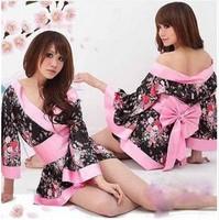New 2015 print Sexy Lingerie Costume Pajamas underwear Sleepwear Robe Kimono Dress  One Size Uniform Tops+Belt+T-back