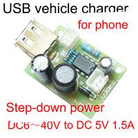 MC34063 vehicle charger module 5V 1.5A usb charger pcb board dc dc module input DC 6V -40V step down volt
