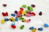 free ship 4000 pcs/lot 1.3*9mm wooden MINI simulation Bettle ladybirds  fridge magnets Ladybug magNICI decorate sticker
