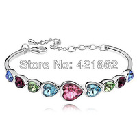 2014 New Hot Women's Unique Colorful Heart Shape Crystal Bracelets Bangles Rhinestong Inlay Hand Chain Jewelry Free Shipping