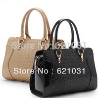 New Arrival 2014 Crocodile Pattern Fashion Smiley Women's Handbag One Shoulder PU Leather Handbag  Candy Color Messenger Bag