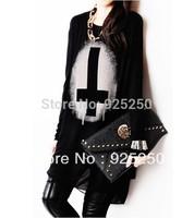 rock top for women fashion 2013 spring summer chiffon cotton patchwork long sleeve cross print top dress black punk t shirt