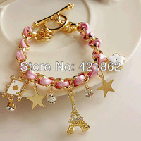 2014 New Hot Selling Fashion Women's Braid Leather Eiffel Tower Star Rhinestone Leather Charm Bracelets Bangles Free Shipping