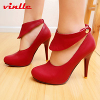VINLLE 2014 Fashion Sexy pointed toe high heels ankle strap fashion pumps Women Pumps Wedding Shoes size 34-39