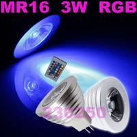 100X Free Shipping! Energy Saving 3W MR16 RGB LED Bulb Lamp light Color changing IR Remote