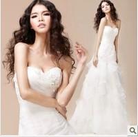 Free Shipping 2014 fashion wedding dress brief slim quality handmade beads organza fish tail wedding dress