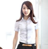 Free Shipping 2014 Summer New Korean Women Cotton Short-sleeved Lapel Shirt Classcal Casual Vocational Commuter OL Blouse