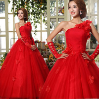 Free Shipping 2013 fashion red wedding dress elegant straps one shoulder wedding dress