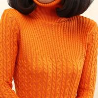 Women's vintage medium-long twisted basic turtleneck shirt thickening thermal sweater female outerwear