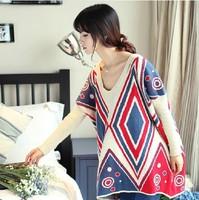 Autumn fashion loose medium-long plus size clothing V-neck sweater female outerwear sweater