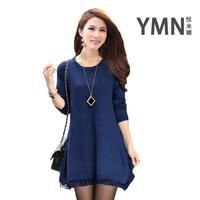 Autumn and winter women medium-long lace decoration o-neck long-sleeve basic shirt sweater outerwear