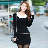 2013 autumn women's peter pan collar slim long-sleeve autumn and winter basic knitted one-piece dress