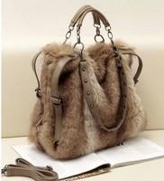 Free shipping Autumn winter women's Plush bags real rabbit fur women's handbags Rabbit hair ladies casual shoulder bags
