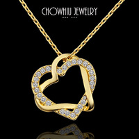 Chow Unique Elegant Crystal Heart Pendant Necklace Yellow Gold Romantic Pendant Necklace Jewelry Trendy Jewelry Nickel Free N586