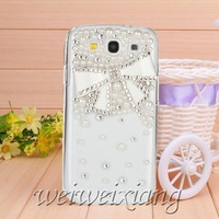 New arrive diamond pearl bow knot case for Samsung GALAXY s3 case for i9300 Mobile Border Protection free shipping