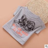 kid girl fashion dog print summer cotton causal t-shirts children european style all match cartoon t shirt top wholesale lot