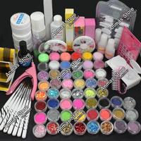 Pro Acrylic Liquid Nail Art Brush Glue Glitter Powder UV Gel Tool Set Kit Tips