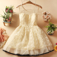 New 2014 2 Solid Color Chiffon patched Bridesmaid Dresses Princess Dress