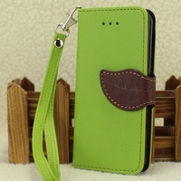 Luxury PU Leather Skin Flip Stand Hard Cover Case For iPhone 5G 5S Phone Shell Leaf Pouch Wallet Handbag + Lanyard