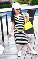 2014 New children outerwear kids dresses for girls kids clothes child black and white stripe 100% cotton one piece full dress
