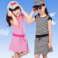 Girls dress 2014 kids dresses for girls children outerwear kids clothes summer black and white stripe 100% cotton dress