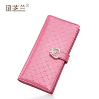 Women's wallet 2014 cowhide embossed pearlescent lockbutton long design wallet