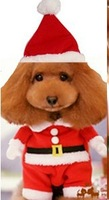 new brand 2014 cosplay 3D model fashion Christmas Santa Claus S-L dog pet set clothes with hat for Christmas Halloween party