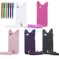 New 3D Cute Artificial Fur Plush Mink Cat Soft Case Cover for Apple iPhone 5 5S 5C Case + Pen A157