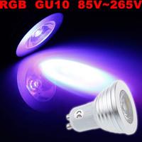 High quality ! 100X GU10 RGB 3W 85V~265V 16 Color LED Light Spotlight Bulb Lamp with IR Remote Controller!